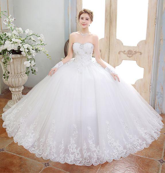 ride Wedding Dresses 2018 Bandage Elegant Sweet Princess Wrapped Chest Ball Gown vestido de noiva