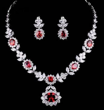 wonderful more color flower diamond crystal stone bride wedding jewelry set necklace earings (139 fgf