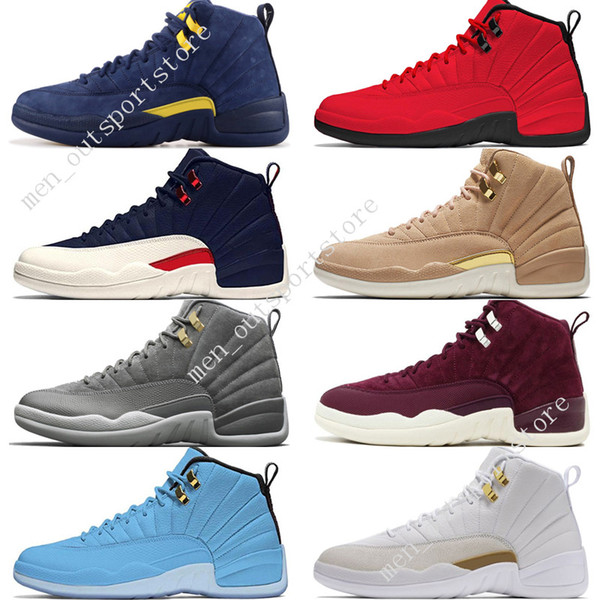 12 12s mens basketball shoes Michigan Bulls College Navy Vachetta Tan Dark Grey Bordeaux Pinnacle Metallic Gold men Sports sneakers designer