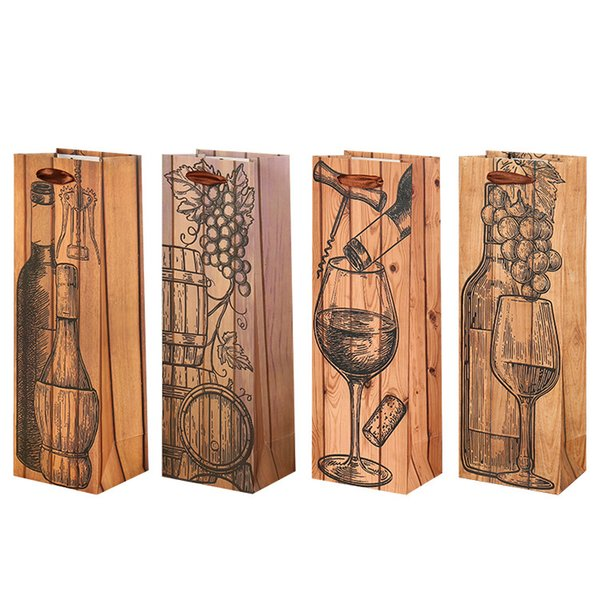 Single Red Wine Bottle Bag Wood Grain Paper Vintage Gift Bags with Lift Rope Thicken Tote Pouch W7634