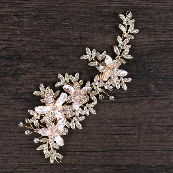 Handmade Wedding Bridal Headband Rhinestone Hair Accessories Crystal Crown Tiara Leaves Pearl Headpiece Gold Jewelry Headdress Wholesale