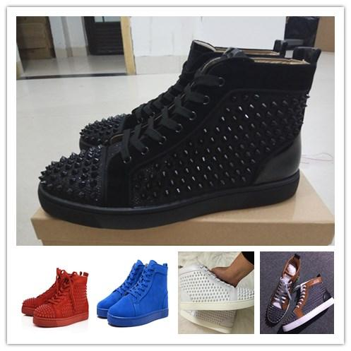 Original shoebox Brand Studded Spikes Flats shoes Red Bottom Shoes For Men and Women Party Lovers Genuine Leather Sneakers size 36-47
