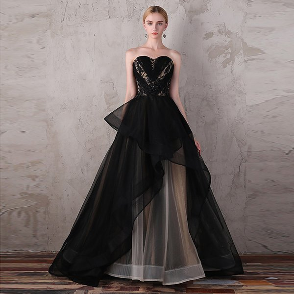 utterly stylish 2018 shoes online shop 2019 Black And Champagne Ball Gown Evening Dresses Plus Size Elegant Lace  Up Corset Tiered Skirt Lace Beaded Formal Prom Party Gowns 3141 Evening ...