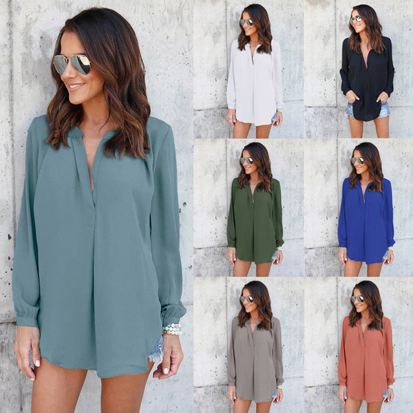 best selling Women Chiffon Blouse Shirts V Neck Folds Pleated Loose Casual Plus Size S- 5XL European Summer Long Sleeve Fashion Tops