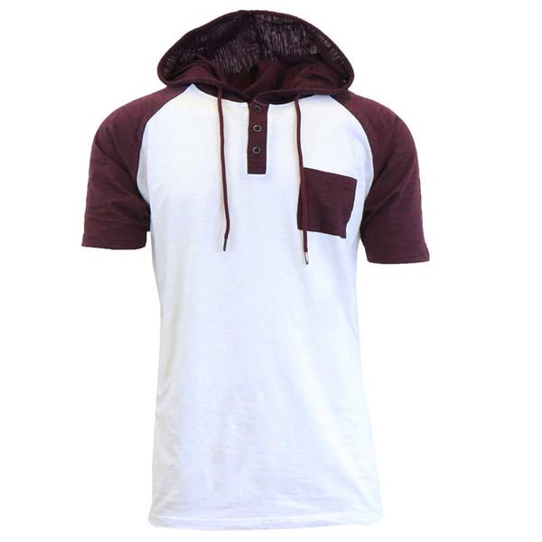 Hombres verano de manga corta con capucha sudadera jersey Jumper Tops algodón delgado negro blanco gris sudaderas