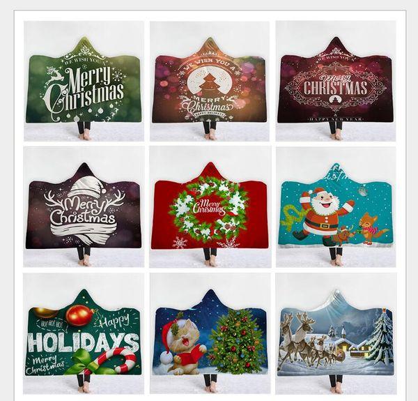 Couverture à capuchon de Noël pour enfants adultes 165 Styles de Bande Dessinée Licorne Microfibre Floral Sherpa Fleece Wearable Blanket 130 * 150cm