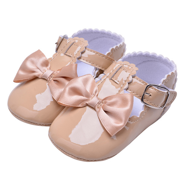 Fashion Infant Patent Solid Baby Shoes PU Leather Pretty Butterfly-knot Kid Girl Buckle Strap Infant Crib Moccasin First Walkers