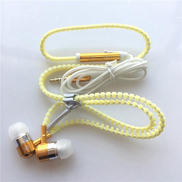 LED Luminous Earphones Glow In The Dark Headphones Metal Zipper Night Lighting Glowing Headset With Mic Handsfree For Ipho eX Sam sung S8