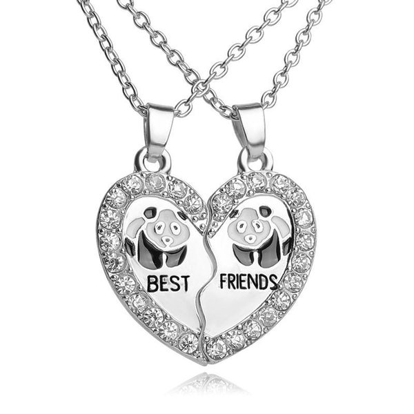 "Wholesale- ""BEST FRIENDS"" BBF 2 part Shiny Zircon Broken Heart Pendant animal panda crystal pendant Chain Necklace friendship Gift"
