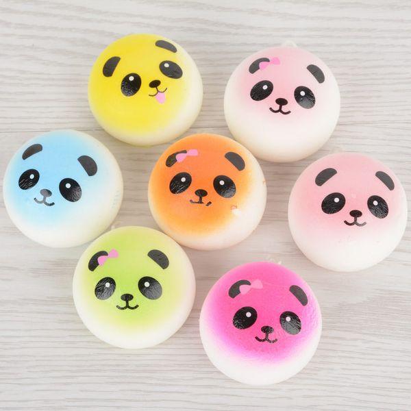 4cm weiche nette Jumbo Chubby bunte Panda Squishy Brot Charms Handy Strap Tasche Telefon Panda Brot Anhänger Kind Spielzeug