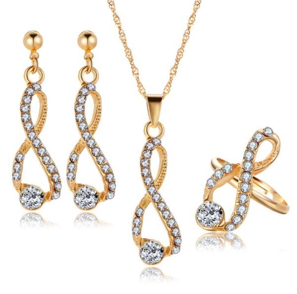 Infinite Bridal Jewelry Set Collana lunga di cristallo Orecchini Anelli Design semplice Gioielli da sposa per donna Colore oro