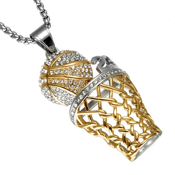 Hip Hop Full Rhinestone Men Basketball Pendants Necklaces Gold Stainless Steel Sports Necklace for Men Jewelry