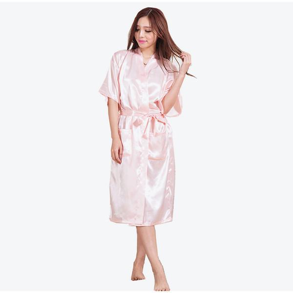 Ipek Saten Mektup Katı Kadınlar Uzun Elbiseler Yarım Kollu Sashes Cep kadın Gece Elbise 2018 Sonbahar Moda Artı Boyutu Nightie