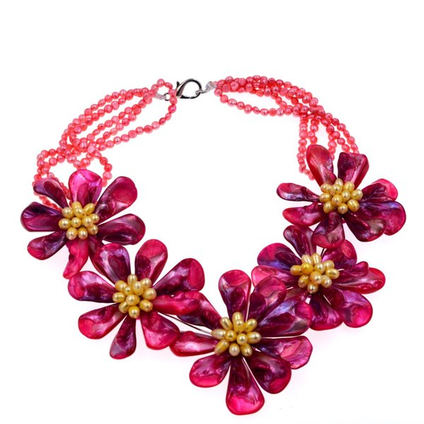Exclusive Hot Pink Mop Shell Yellow Freshwater Pearl Woven Choker Necklace Jewelry Sell