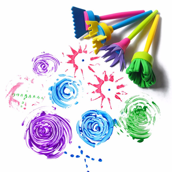 New Fashion 4Pcs/Set Drawing Toys Funny creative toys for kids diy flower Graffiti sponge Art Supplies Brushes Seal Painting Tool