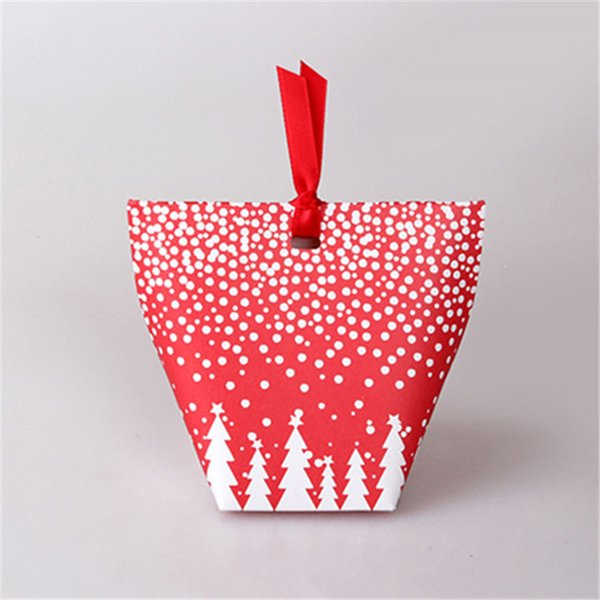 (25 pieces/lot) Merry Christmas Christmas Tree Candy Box Snow Forest Red Green Paper Gift Bag Candy Container For Kids B067