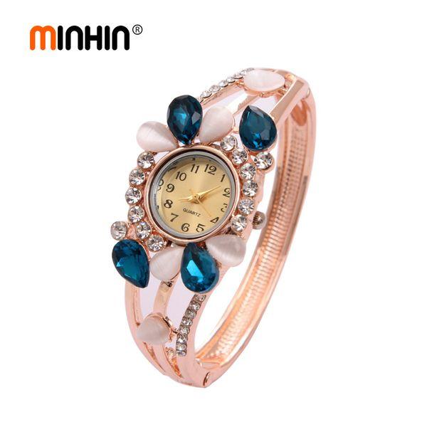 Ladies Charming Quartz Wristwatches Brilliant Crystal Mosaic Rhinestone Opal Women Casual Dress Bracelet Watch Wholesale