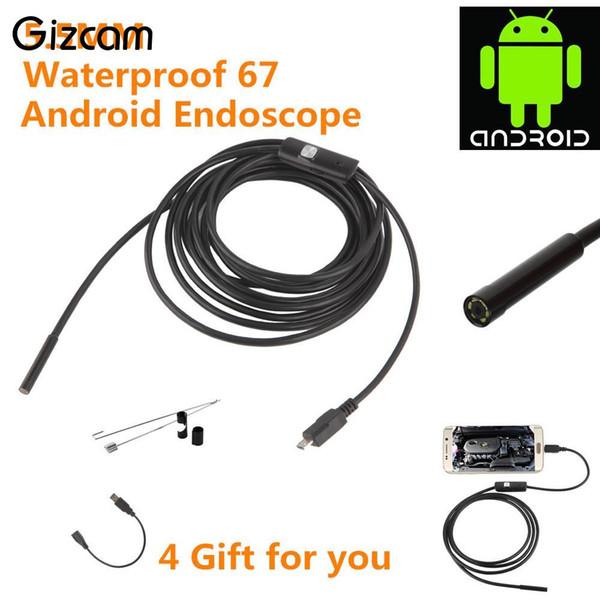 Gizcam 5.5mm Lens 1 M / 1.5 M / 2 M / 3.5 M / 5 M USB Kablosu Su Geçirmez 6 LED Android Endoskop 1/9