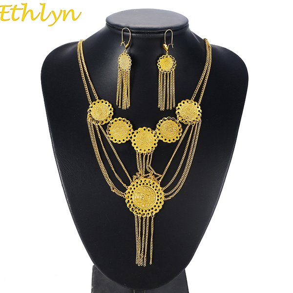Ethlyn Double Layer Tassel Coin Necklace Set Gold Color Antique Coin Earrings Necklace Middle East Muslims Islamic Women Sets
