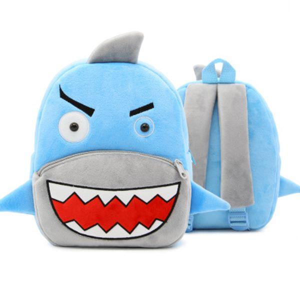 Shark backpack Fish shape cartoon day pack Young child school bag Kids packsack Plush rucksack Sport schoolbag Outdoor daypack