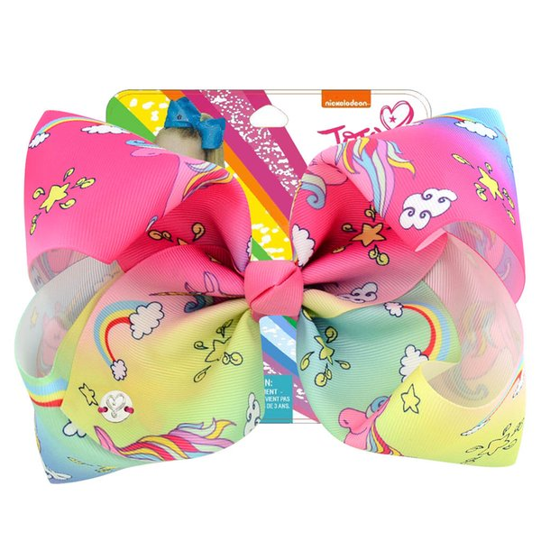 8 Inch Jojo Siwa Hair Bow Solid Color With Clips Papercard Metal Logo Girls Giant Rainbow Rhinestone Hair Accessories Hairpin Unicorn Cute