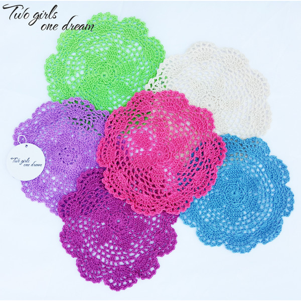 Free shipping 24pcs/lot 20cm Round Cotton Crochet Lace Doilies Fabric Felt As Innovative Item For Dinning Table Pad Coasters Mat
