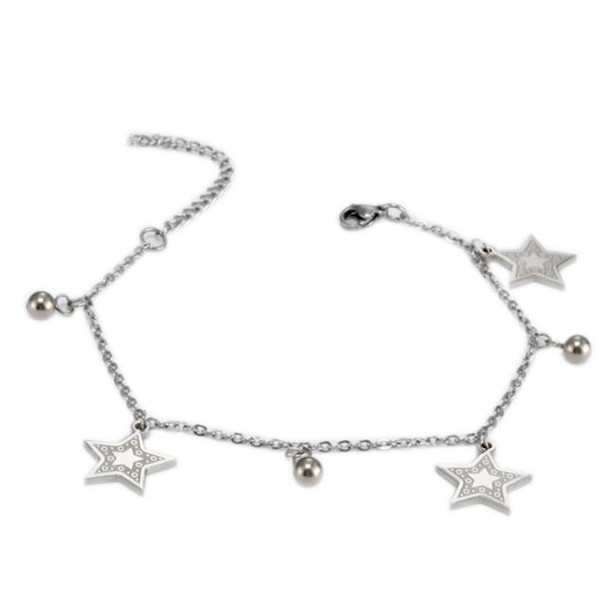 stainless steel Silver Bracelet Double Chain 3 Star Pendant and 5 Ball Pendant Anklet Adjustable Size