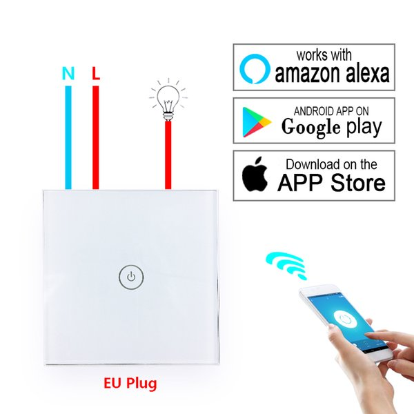 Smart Home WiFi Switch EU Wall Panel Glass Touch Switches Wireless Remote Control Lights Home Automation Work with Amazon Alexa