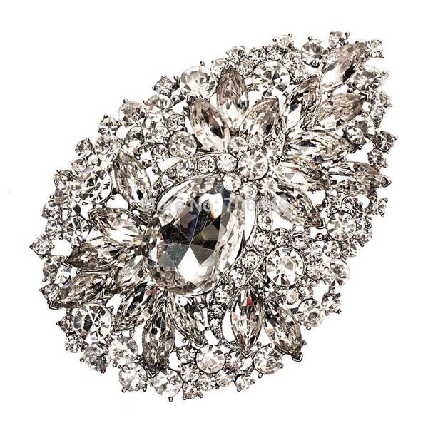 3.8 Inch Extra Large Heart Glass Crystal Diamante Wedding Bridal Brooch V