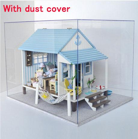 With dust cover DIY Doll House Miniature coast of happiness Manual wood assembled large villa model Birthday gift Dollhouse Toy