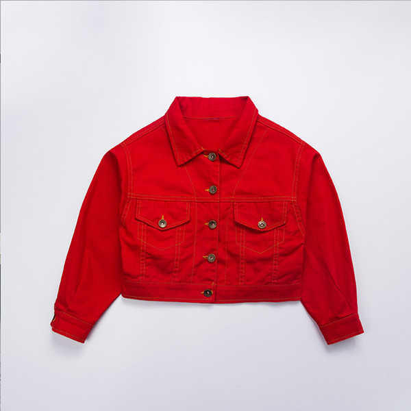 Girls Red Vintage Loose Ballroom Jazz Hip Hop Dance Costume Denim Jackets Coats Vest for Children Dancing Clothing Clothes Wear