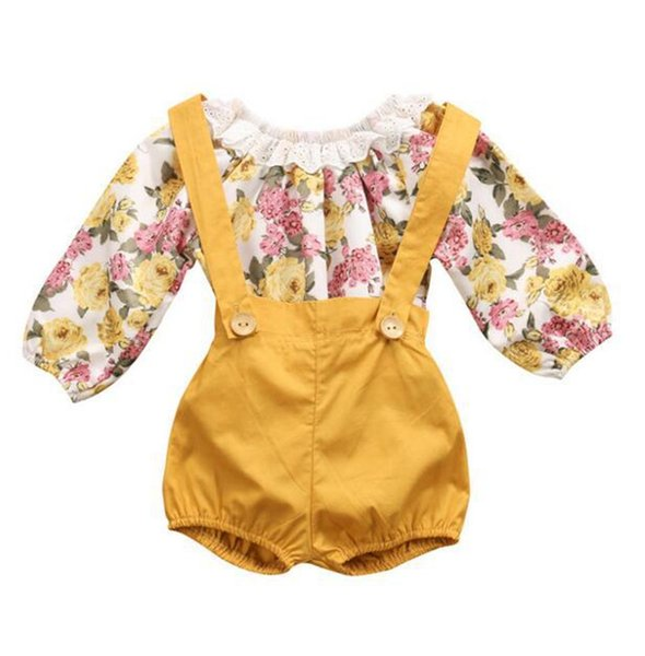 New Arrival Spring Autumn Fashion Baby Girls Floral Printing Romper + Suspender Pants 2 pcs Sets Children Clothing B11
