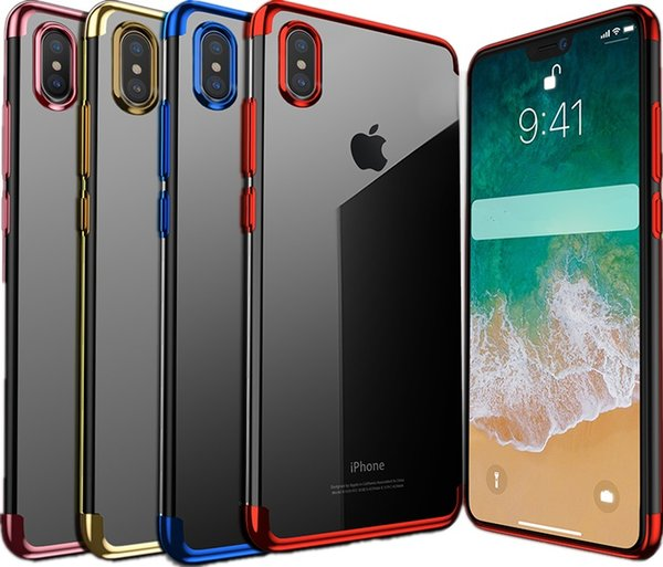 Telefon XS XR XS MAX Lüks Ultra İnce Darbeye Tampon Kılıfı iphone X TPU Yumuşak kaplama Cep Telefonu Geri Shell iphone X Kılıf