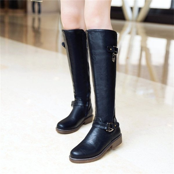 Compre YMECHIC Tallas Grandes Para Mujer Botas Hasta La Rodilla Mujer Negro Marrón Zapatos Bloque Chunky Tacones Bajos Long Knight Riding Boot Botas