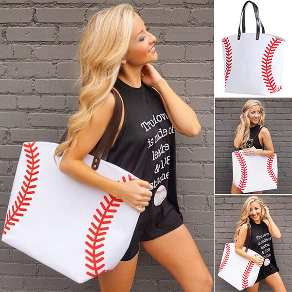 top popular 2018 Canvas Bag Baseball Tote Sports Bags Casual Softball Bag Football Soccer Basketball Cotton Canvas Tote Bag 18 color Free DHL 2021
