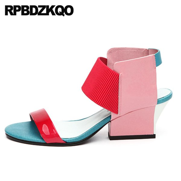 2018 Chunky Ladies Open Toe Double Strap Sandals Thick Famous Brand Women Pumps High Quality Red Genuine Leather Summer Shoes