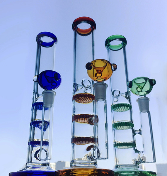 Colorful Straight Tube Glass Bong Triple Layer Honeycomb Perc Percolator Water Pipes Ice Catcher Heady Glass Oil Dab Rig Tonado Bongs WP525