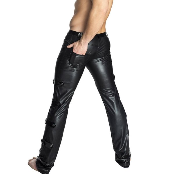 Sexy Men Plus Size High Elastic Shiny Pencil Pants Tight PU Glossy Punk Stage Pencil Pants Erotic Lingerie Bandage Gay Wear F39