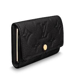 M64421 6 KEY HOLDER Embossing black Real Caviar Lambskin Chain Flap Bag LONG CHAIN WALLETS KEY CARD HOLDERS PURSE CLUTCHES EVENING