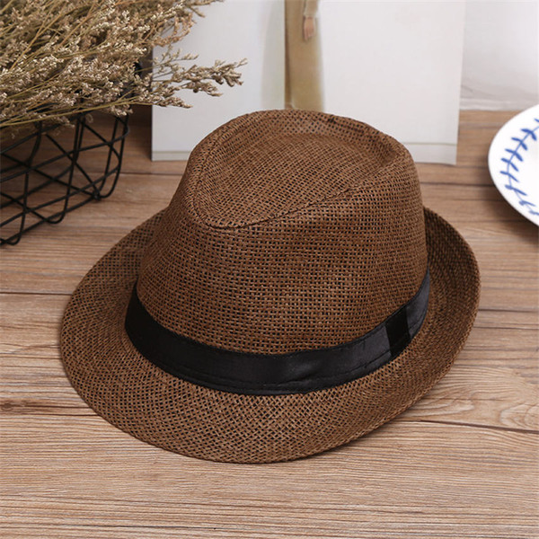 Hot fashion men jazz hats woven straw hats for women adults Panama wide brim straw Hats caps For summer beach vacation