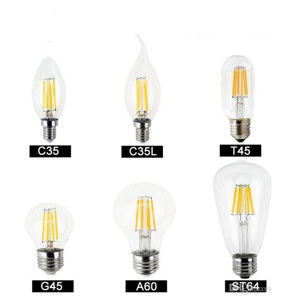 top popular Dimmable led bulbs Filament bulb 4w 8w 12w 16w High Power Glass globe bulb 110V 220V 240V Retro led Edison lamp candle lights 2021