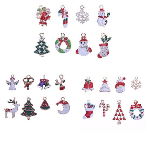 8 unids / set Serie de Navidad Pequeños Encantos Colgante DIY Artesanía Joyería Accesorios Para el Cabello Árbol de Navidad Adornos Colgando Decoración
