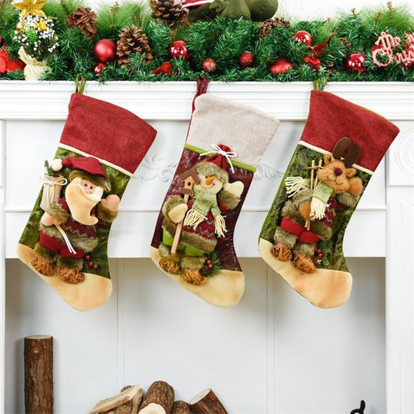 42cm Christmas Bag Santa Sacks Christmas Tree Decorations Natal Gift Candy Bag Xmas Tree Hanging Decoration Christmas Stockings