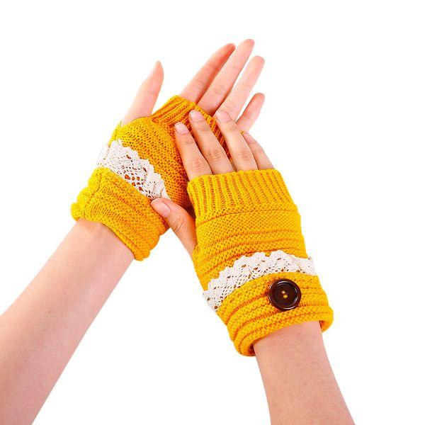 1efcd60a4 Winter Warm Gloves 2018 Women Luxury Button Short Lace Mittens Elegant Lady  Winter Gloves Crochet Knitting