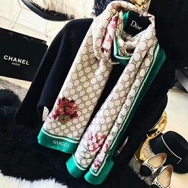 Fashion hot sale brand design women four seasons printing silk scarves free of transportation cost size 180*90cm