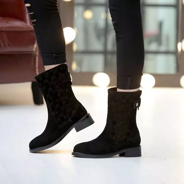Hot New Womens Ankle Winter Short Knight Martin Cowboy Snow Boots Shoes 100% Suede Leather Size 35-40