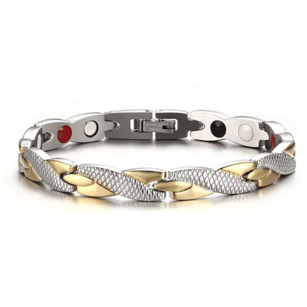 Health Energy Magnetic Ion Germanium Bracelet Men Pulseras Hombre Chain Link Stainless Steel Bracelet Bangle Women Men Wholesale
