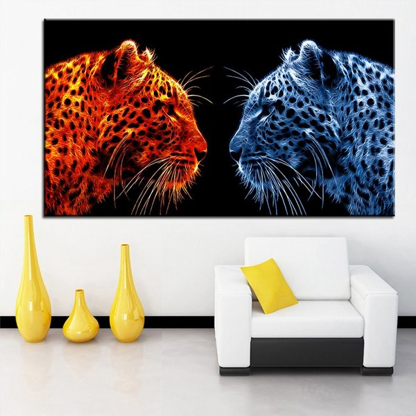 Große größe Druck Ölgemälde feuer leopard vs leopard wandmalerei Dekor Wandkunst Bild Für Wohnzimmer malerei Kein Rahmen