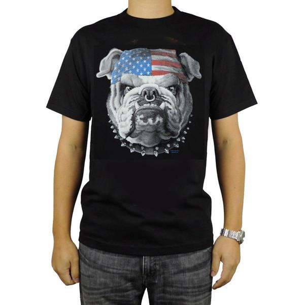American Bulldog T-shirt patriótico da bandeira preta Bandana Cadeia anel de nariz Collar New Camisetas Unisex engraçado Tops Tee