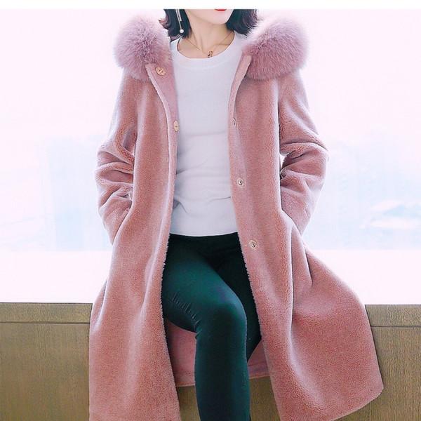 New Arrive Autumn Winter Real Sheep Shearing Overcoats Female Long Fox Fur Cap Collar Women's Medium Length Thick Coats